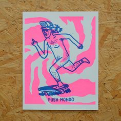 PUSH MONGO Risograph Print by OkayDesignShop on Etsy
