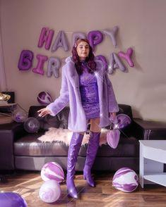 Purple Balloons, Purple Dress, Fashion Outfits, Womens Fashion, Knee High Boots, Harajuku, Street Style, Decoration, Birthday