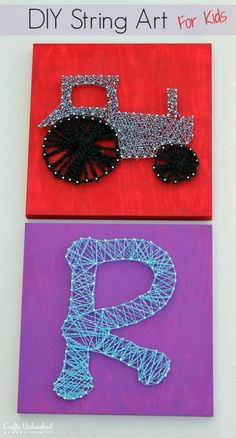 DIY String Art for Kids - Let your kids make some art that you will actually be proud to display. Grab a board, paint, some nails, and any string or yarn to tur… aktiviteter DIY String Art for Kids Diy Home Crafts, Diy Arts And Crafts, Crafts To Do, Diy Crafts For Kids, Kids Diy, Creative Crafts, Decor Crafts, Prego, Camping Crafts