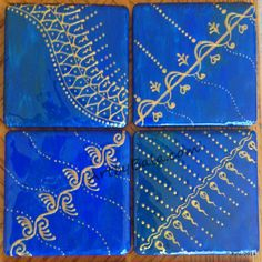 Cobalt blue with rich gold coaster set, painted with acrylics & sealed with resin, (c) Bala Thiagarajan, 2014 (available). $36 + $6 shipping #functionalart