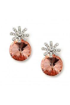 #jewelry #twjonlinestore Silver Crystal Rhinestone in Star Shaped with Large Light Peach Stone Earrings