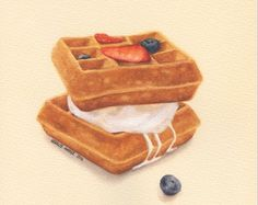 Waffles with Ice Cream - ORIGINAL Painting (Watercolour Food Illustration) 8x10