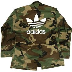 Vtg Camo Adidas Jacket (£53) ❤ liked on Polyvore featuring outerwear, jackets, camoflauge jacket, brown jacket, camo jacket, camo print jacket and camouflage jacket