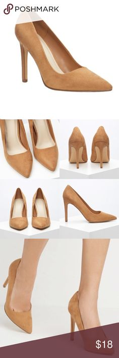 "F21 - Pointed Faux Suede Pumps NWT * classic pumps, smooth faux suede, padded insole, color: tan, textured outsole, upper: 100% polyester, lining 1 & insole: polyurethane; lining 2: 81% polyester 15% cotton 4% rayon, outsole 1: 56% cotton 42% rayon 2% polyester; outsole 2: 100% rubber, heel height: 4.25"" , shaft: 2.75"" ❌TRADES❌ Forever 21 Shoes Heels"