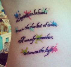 "Esta inspiradora frase de Dumbledore. | 42 Tatuajes increíbles de ""Harry Potter"" que solo los muggles odiarían"