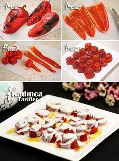 How to Make Roasted Red Pepper Salad with Yogurt? - Womanly Recipes - Delicious, Practical and Delicious Food Recipes Site - Roasted Red Pepper Salad with Yogurt - Crab Stuffed Avocado, Pepper Recipes, Cottage Cheese Salad, Salad Dishes, Tasty, Yummy Food, Roasted Red Peppers, Turkish Recipes, Gastronomia