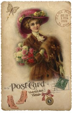 Violeta lilás Vintage: Post Card with woman in fur coat and muff, carries roses, pink hat decorated with yellow roses, stamp, vintage pink shoes, locket, butterfly, postmark.