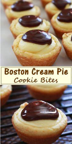 Boston Cream Pie Cookie Bites cookiesrecipes is part of Boston cream pie - Finger Desserts, Mini Desserts, Cookie Desserts, Just Desserts, Fancy Cookies, Cookies And Cream, Best Dessert Recipes, Delicious Desserts, Quick Dessert