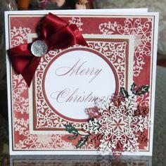 Krystal (D412), Christmas Florals Holly (D437) www.tatteredlace.co.uk Christmas Goodies, Christmas 2016, Christmas Crafts, Christmas Decorations, Christmas Ideas, Snowflake Cards, Snowflakes, Tattered Lace Cards, Scrapbook Cards