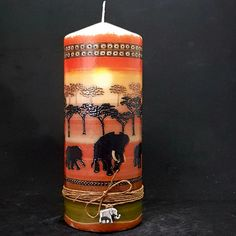 African Sunset Large hand decorated pillar candle | Candle Affair Handmade Candles, Diy Candles, Decorated Candles, Halloween Candles, Christmas Candles, Decorative Pillars, Large Pillar Candles, African Sunset, Vintage Candles
