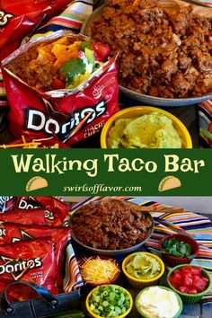 Our Walking Taco Bar is the perfect way to serve up a saucy taco filling and your favorite toppings for the big game. Crush the chips in your bag, top them with a flavorful beef taco filling, pile hig Party Ideas, Party Food Bars, Taco Party Bars, Parties Food, Walking Tacos, Camping Meals, Camping Dishes, Camping Dinner Ideas, Ideas Party