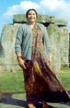 Shri Mataji, the founder of Sahaja yoga meditation at Stonehenge, 1982
