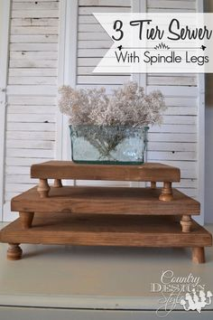 3 Tier Server with Spindle Legs made from scrap aged wood. The server can be displayed in different configurations. | Country Design Style | countrydesignstyle.com