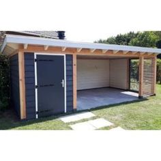 Retractable And Roll-Up Canopies Give The Owner The Option Of Completely Extending The Shade During Summer Season And Rolling It Up During The Winter Season. Backyard Studio, Backyard Sheds, Backyard Patio Designs, Outdoor Sheds, Backyard Retreat, Backyard Pergola, Backyard Landscaping, Outdoor Gardens, Shed Homes