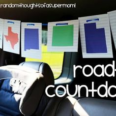 Road Trip Countdown Activity for Kids {printable}  I would just do printouts, no sewing, and I would do the states we will be traveling through.