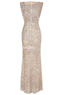 Sheath Column Scoop Neck Sequined Floor Length Beading Champagne Sparkly Prom Dress