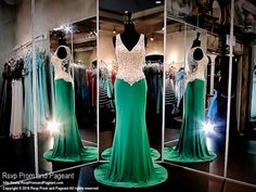 Emerald Green Jersey Evening Gown-Nude Bodice with Crystals-116JC058140