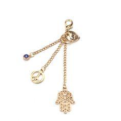 gold fatima hamsa hand blue evil eye love peace pendant gold keychain turkish keychain