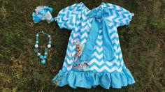 girl first birthday outfit simple girls dress girls summer dress ice chervon dress blue   with matching headband and necklace