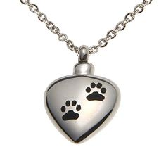 VALYRIA Memorial Jewelry PetDog Paw on Heart Urn Keepsake Cremation Ashes Necklace -- This is an Amazon Affiliate link. You can find more details by visiting the image link.