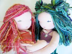 Mermaid sister Turquoise and CÖral~ handmade by FeeVertelaine