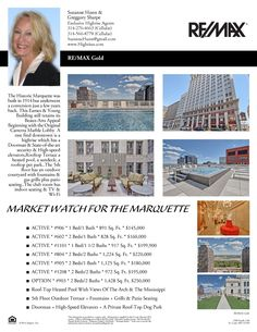 The Marquette Market Watch as of September 27, 2014....Call Suzanne Hunn of Re/Max GOLD if you would like to see any of the available condos....314-276-4663.....The Marquette - 314 Broadway - St Louis, MO .... www.Highrises.com