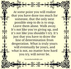 Lessons Learned in Life | You have to draw the line.
