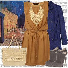 A fashion look from October 2010 featuring brown dress, blue coat and leather ankle boots. Browse and shop related looks.