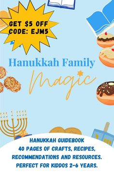 Tons of kid-friendly Hanukkah recipes, crafts, activities, book and music recommendations and more. All in this easy downloadable pdf. Use code: EJM5 for $5 off  #hanukkahcraft #hanukkahrecipe #chanukah Hanukkah Music, Hanukkah Crafts, Hanukkah Food, Hanukkah Decorations, Holiday Crafts, Hanukkah Recipes, Music Recommendations, Festival Lights, Menorah