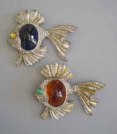 DUJAY Unsigned Fish Brooch with Red Unfoiled Glass Cabochon Belly, Clear Rhinestone Fins, Topaz Colored Eye and Gold Colored Enamel, circa 1940s