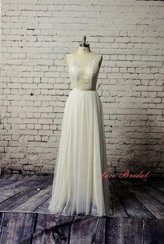 ChampagnerHochzeitskleid Brautkleid einfache von LaceBridal auf Etsy, $298.00