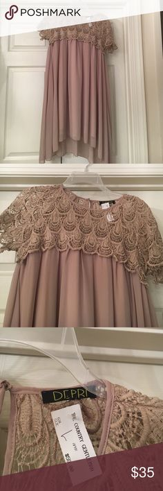 Lace Nude dress Lace nude dress size large. New with tags. Depri Dresses Mini