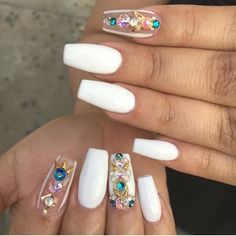 Beautiful White Nails...Exotic #nails #printablexpressions