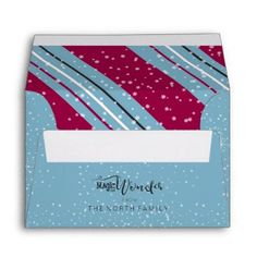 Magic and Wonder Christmas Stripes Blue ID440 Envelope - red gifts color style cyo diy personalize unique
