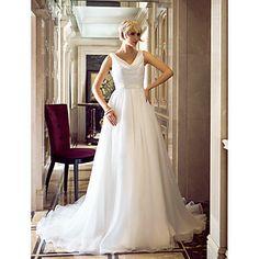 A-line Cowl Sweep/Brush Train Organza Sequined Wedding Dress (604651) – GBP £ 97.39