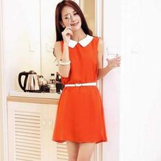 Contrast-Collar Sleeveless Dress with Belt from #YesStyle <3 Jack Grace YesStyle.com