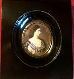 Antique Portrait Miniature Of Impress Élisabeth ( Sissi )