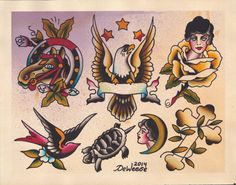 Original Watercolor Traditional Tattoo Flash by DeWeeseCollective