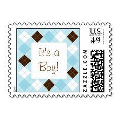 Modern Baby Blue Argyle Postage Stamps