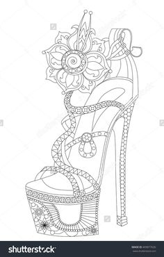 Shoe With Flowers. Coloring Books For Adults. Vektorová ilustrace 409877626 : Shutterstock