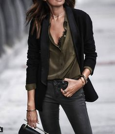 Never worn an outfit like this, but love everything about it -- combo of badass and boho. Also LOVE the bralette peeking out...