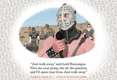 """Road Warrior - Pixar Artist Recreates Famous R-Rated Movies For Children's Book.  Josh Cooley, a storyboard artist for Pixar Animation, has created the year's most viral children's book (thus far): """"Movies R Fun,"""" which takes classic scenes from adult-oriented movies such as """"Pulp Fiction,"""" """"Fargo,"""" """"Donnie Darko"""" and """"Psycho"""" and turns each moment into a cartoon.  $50.00, 13"""" x 19"""" - Archival print on fine art paper. Hand-signed and numbered.  Limited Edition print out of 100."""