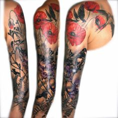 bird and plant sleeve tattoo - Google Search