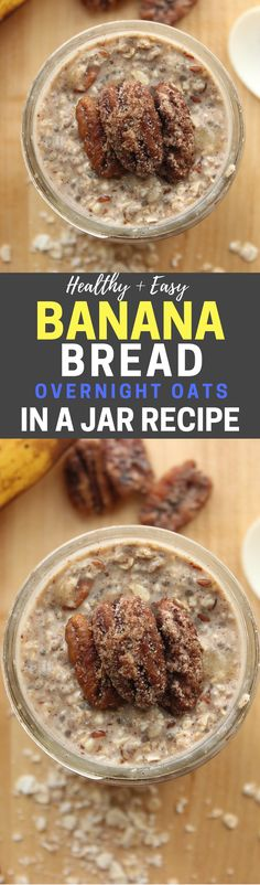 Healthy and Easy Banana Bread Overnight Oats In A Jar Recipe! This is an awesome overnight oatmeal recipes, and it's such a fantastic healthy breakfast idea too. Plus, it's low in calories, and this recipe has almost 10g of protein - which makes it's great for Weight Watchers too.