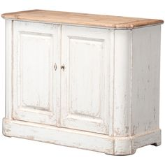 Sarreid Ltd We offer three sizes in this wonderful sideboard of reclaimed pine. The interior shelves are removable. We show a nice combination of a painted base and a natural pine top. This is the smallest size. Two doors. Shabby Chic Bedrooms, Shabby Chic Cottage, Farmhouse Addition, Boho Glam Home, Antique Sideboard, Farmhouse Chic, Cottage Farmhouse, French Farmhouse, Kiefer
