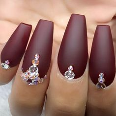 21 Stunning Burgundy Nails Designs That will Conquer Your Heart ❤ Matte Burgundy Nails picture 2 ❤ At first sight, there is nothing special about burgundy nails. But wait until you see our selection, we bet you will not resist these juicy hues! https://naildesignsjournal.com/burgundy-nails-designs/ #nails #nailart #naildesign #burgundynails