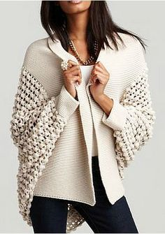 popcorn knit sweater! Cute and casual.