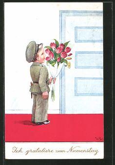 Künstler-AK Willi Scheuermann: Junge in Soldatenuniform mit Blumenstrauss…