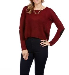 Burgundy Hi Lo Elbow Patch Sweater, Windsor