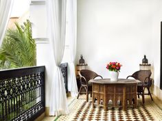 Spacious suite in Marrakech, Fez boasts high ceilings, king size bed, tadelakt bathroom and private balcony with pool view. Le Riad, Marrakech Morocco, Interior Architecture, Interior Design, Amazing Architecture, Jasper Conran, Moroccan Interiors, Moroccan Bedroom, Tadelakt